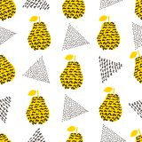 Seamless pattern with silhouettes of the creative black and yell. Ow pears, black triangles on the white background. Vector illustration Royalty Free Stock Image