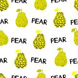 Seamless pattern with silhouettes of the creative black and yell. Ow pears, words Pear on the white background. Vector illustration Stock Image