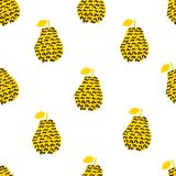 Seamless pattern with silhouettes of the creative black and yell. Ow pears on the white background. Vector illustration Royalty Free Stock Photo
