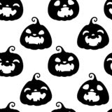 Seamless pattern with silhouettes of different Halloween pumpkins on white background. Vector illustration. For stock photo