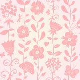 Seamless pattern with silhouettes flowers. Royalty Free Stock Image