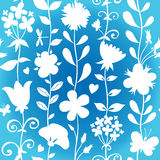 Seamless pattern with silhouettes flowers. Stock Image