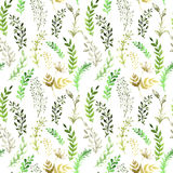 Seamless pattern with silhouettes of flowers and. Grass, drawing by watercolor Royalty Free Stock Images