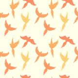 Seamless pattern with silhouettes of flying parrots. Vector image. vector illustration