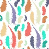 Seamless pattern with silhouettes of plumes Stock Images