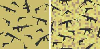 Seamless pattern with silhouettes of small arms. Stock Photography