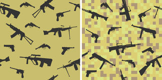 Seamless pattern with silhouettes of small arms. Stock Photo