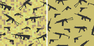 Seamless pattern with silhouettes of small arms. Stock Images