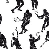 Seamless pattern with silhouettes of tennis players Stock Images