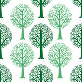 Seamless pattern with silhouettes of trees, vector Royalty Free Stock Photo