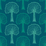 Seamless pattern with silhouettes of trees, vector Stock Photos