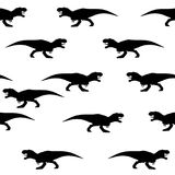 Seamless pattern of silhouettes of tyrannosaurs vector illustration