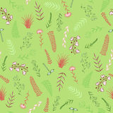 Seamless pattern with silhouettes of various plant Stock Image