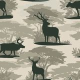 Seamless pattern. Silhouettes Wild deer reindeer in forest royalty free illustration