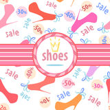 Seamless pattern with silhouettes women's shoe Stock Photography