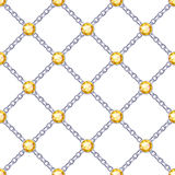Seamless pattern with silver chains and gemstones. Royalty Free Stock Image