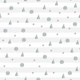 Seamless pattern with silver dots and triangles on striped background. Stock Images