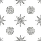Seamless pattern with silver glitter textured circle and star on the white background. Good for holidays, 2018 vector illustration