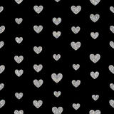 Seamless pattern of silver hearts Stock Photo