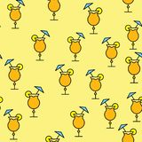 Seamless pattern of simple abstract alcoholic cocktails with juice, small umbrella and tubule in glass cups, bar icons on yellow royalty free illustration