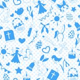 Seamless illustration with simple contour icons on a theme the holiday of Easter , blue silhouettes icons on a blue background pol Royalty Free Stock Photo