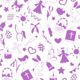 Seamless illustration  with simple contour icons on a theme the holiday of Easter , purple silhouettes icons on a white background Stock Image