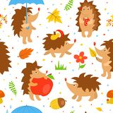 Seamless pattern with simple cute hedgehogs Stock Image