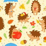 Seamless pattern with simple cute hedgehogs Royalty Free Stock Image