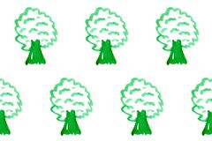 Seamless pattern with simple trees on white board. Ecology theme. Save the planet. Cartoon background for Kids. Doodle