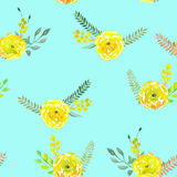 Seamless pattern with the simple watercolor floral bouquets of yellow flowers on a turquoise background Stock Image