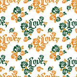 Seamless pattern with single word `love` and roses silhouettes. Royalty Free Stock Image
