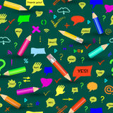 Seamless pattern  sings and speech bubbles. Stock Images