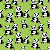 Seamless pattern with sitting cute panda and bambo. O, vector illustration Stock Images
