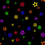 Seamless pattern with six-colored rainbow flowers Royalty Free Stock Photography