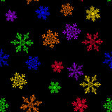 Seamless pattern with six-colored rainbow snowflake Stock Photography