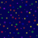 Seamless pattern with six-colored rainbow snowflakes Royalty Free Stock Photos
