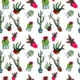 Seamless pattern of six watercolor cacti of different types in pots royalty free stock photo