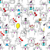Seamless pattern with sixteen emotions of cats royalty free illustration