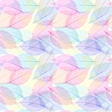 Seamless  pattern with skeleton leaves. Stock Photo