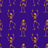 Seamless pattern with skeleton silhouette. Stock Image