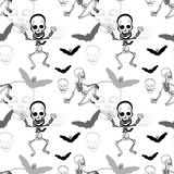 Seamless pattern of skeleton ,skull and bat on white background Royalty Free Stock Photography