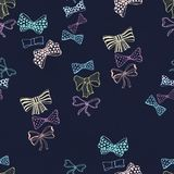 Seamless pattern with skerchy bows. Seamless pattern with hand drawn bows. Fashion illustration Royalty Free Stock Photos