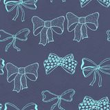Seamless pattern with skerchy bows Stock Photo