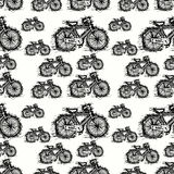 Seamless pattern of sketch bicycle vector. Seamless ride bicycle pattern background vector illustration Royalty Free Stock Photography