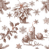 Seamless Pattern with Sketch  of  Christmas Decorations Royalty Free Stock Photos