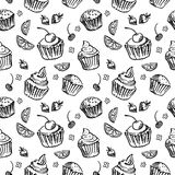 Seamless pattern sketch cupcake. black and white. Vector illustration Stock Photography