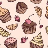 Seamless pattern sketch cupcake. Royalty Free Stock Photo