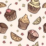 Seamless pattern sketch cupcake. Royalty Free Stock Photos