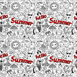 Seamless pattern with sketch drawing summer Royalty Free Stock Images