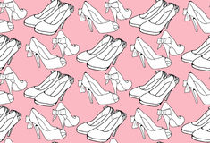 Seamless pattern with sketch female shoes Stock Photo